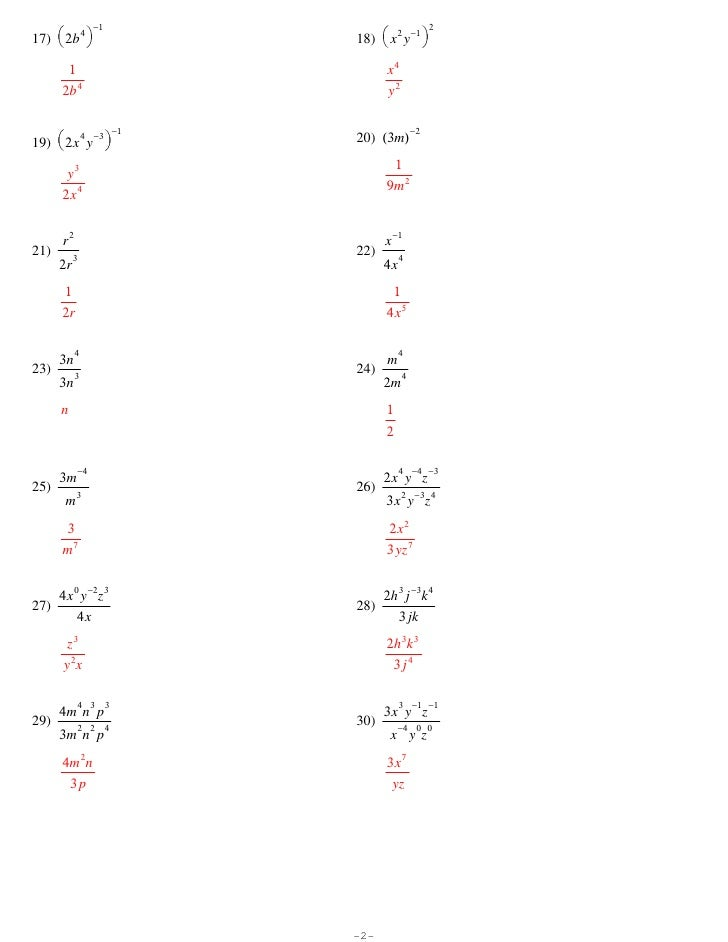 Multiplication Property Of Exponents Worksheet – Properties of Exponents Worksheet
