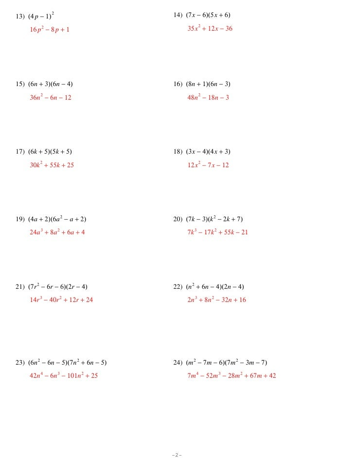 Multiplying Polynomials – Kuta Software Infinite Algebra 1 Worksheet Answers