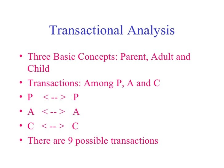 Transactional Analysis <ul><li>Three Basic Concepts: Parent, Adult and Child </li></ul><ul><li>Transactions: Among P, A an...