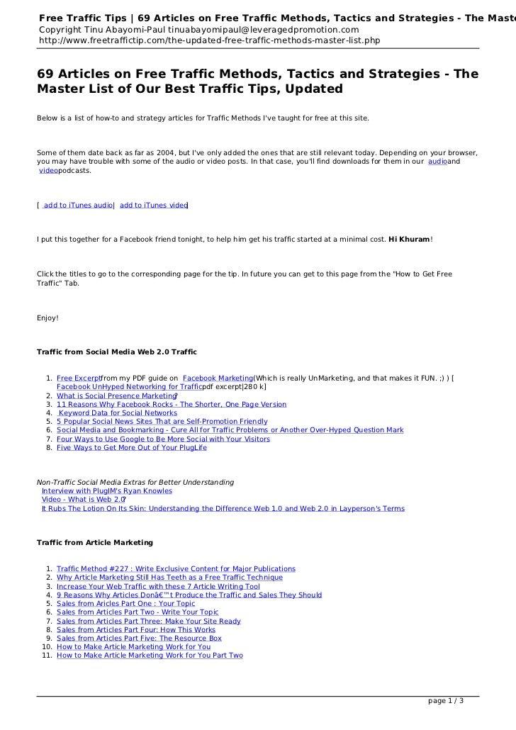 Free Traffic Tips | 69 Articles on Free Traffic Methods, Tactics and Strategies - The MasteCopyright Tinu Abayomi-Paul tin...
