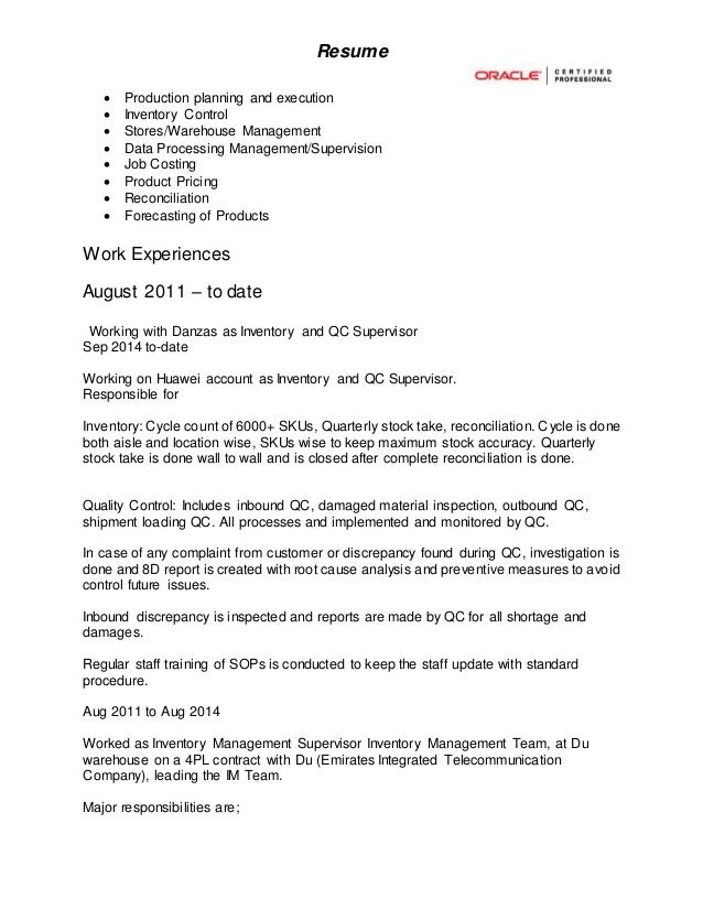 inventory control resume