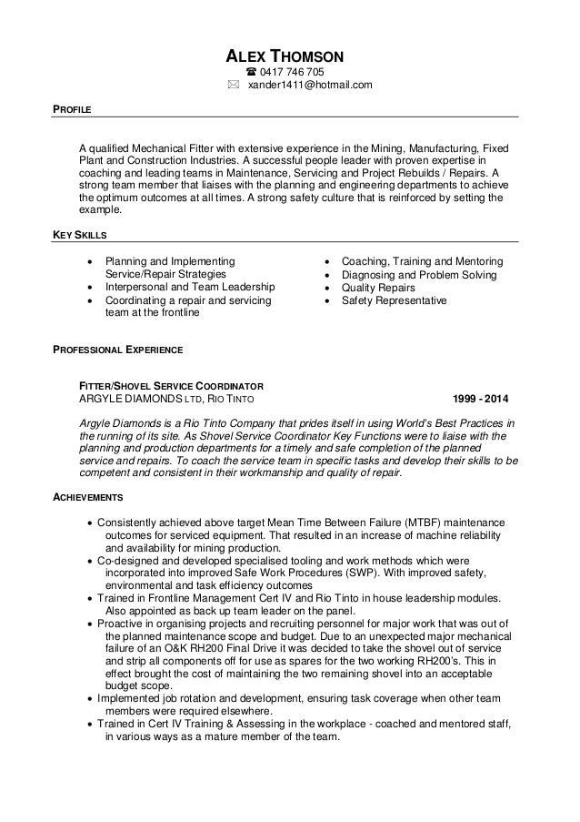 Alex Thomson - Resume