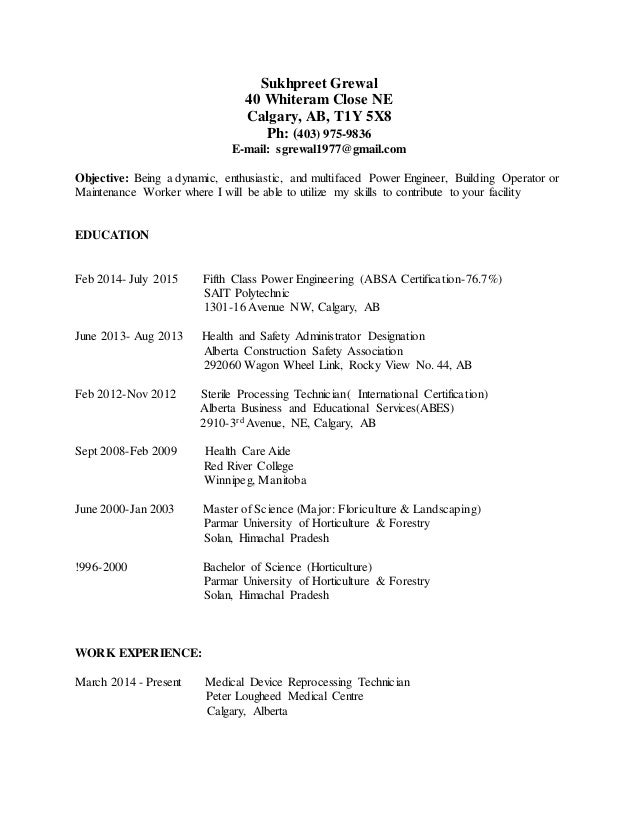 power engineering resume class 5