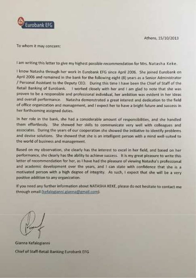 REFERENCE LETTER FROM EUROBANK