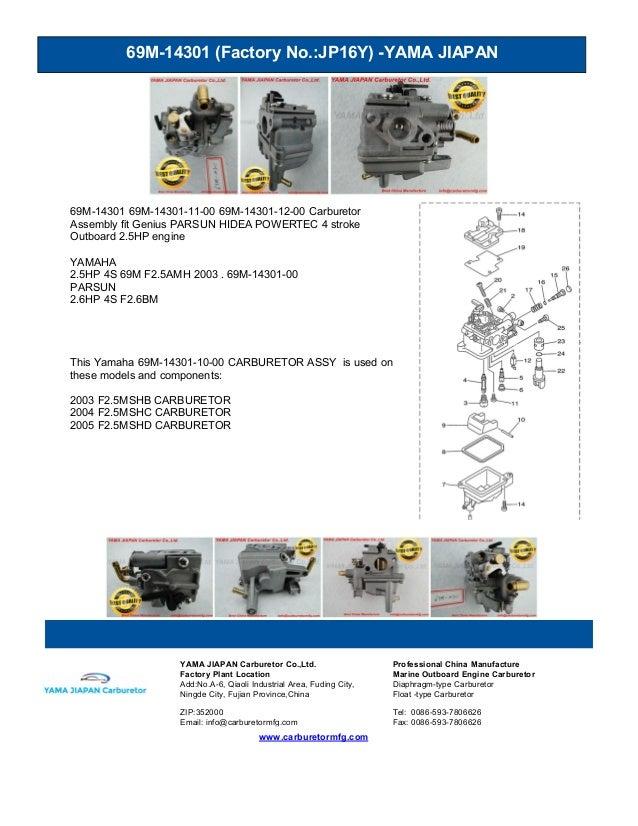 69M-14301 (Factory No.:JP16Y) -YAMA JIAPAN www.carburetormfg.com YAMA JIAPAN Carburetor Co.,Ltd. Professional China Manufa...