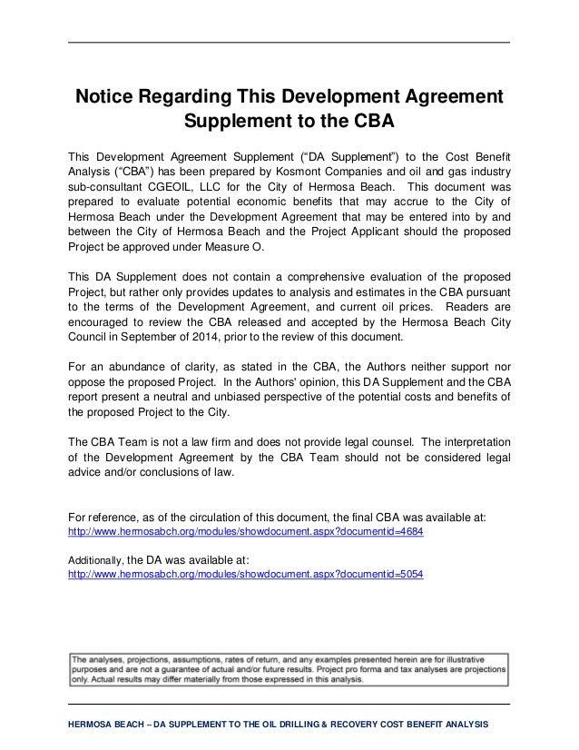 Hermosa Beach Cost Benefit Analysis Development Supplemental Agre