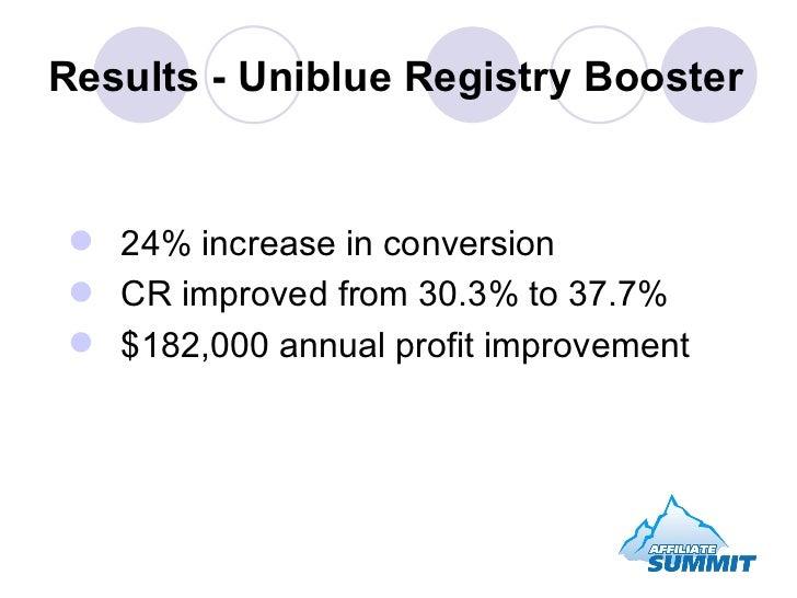 Results - Uniblue Registry Booster <ul><li>24% increase in conversion </li></ul><ul><li>CR improved from 30.3% to 37.7% </...