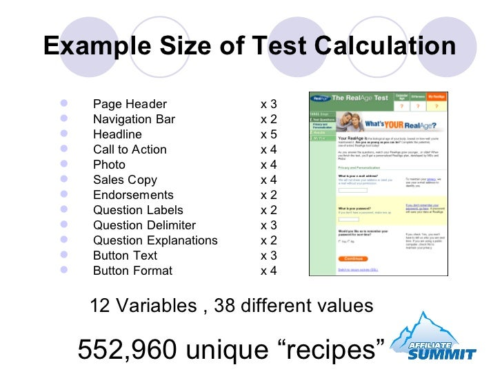 Example Size of Test Calculation <ul><li>Page Header  x 3 </li></ul><ul><li>Navigation Bar x 2 </li></ul><ul><li>Headline ...