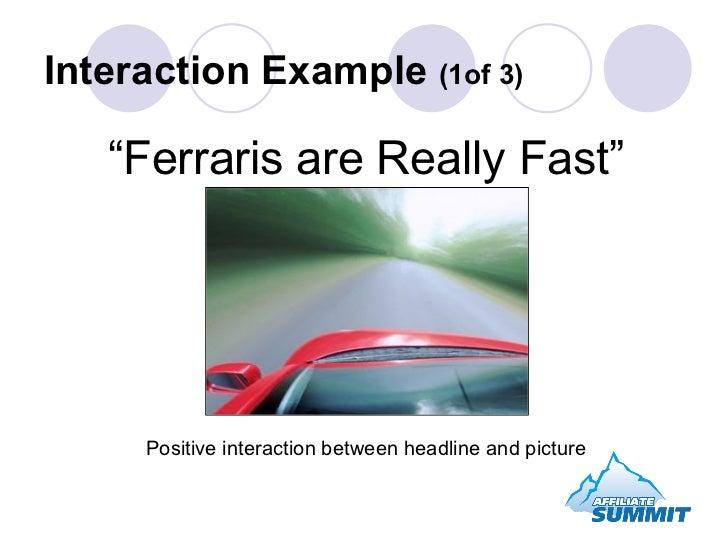 """"""" Ferraris are Really Fast"""" Positive interaction between headline and picture Interaction Example  (1of 3)"""