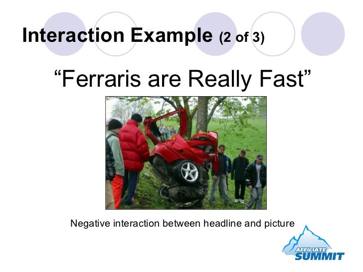 """"""" Ferraris are Really Fast"""" Negative interaction between headline and picture Interaction Example  (2 of 3)"""