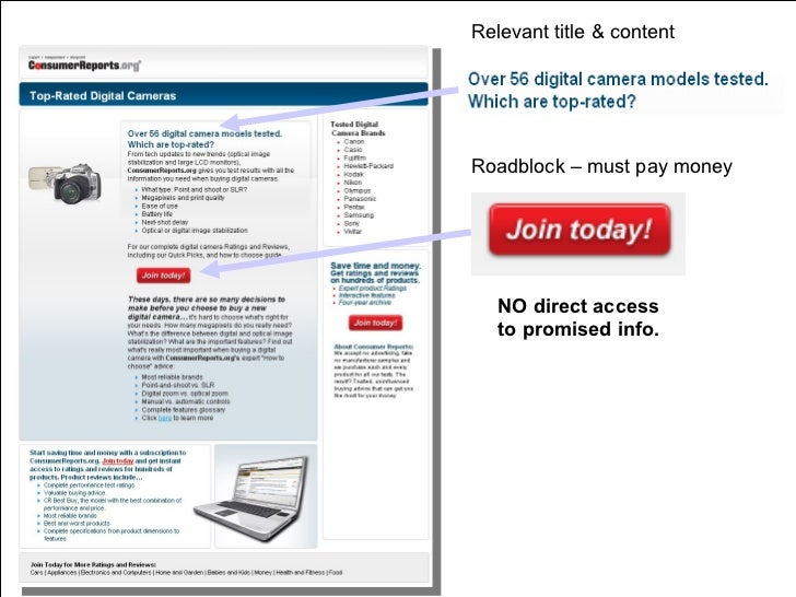 Relevant title & content Roadblock – must pay money NO direct access  to promised info.