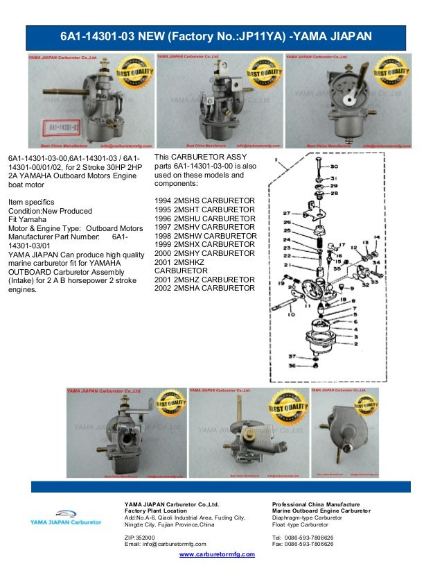 6A1-14301-03 NEW (Factory No.:JP11YA) -YAMA JIAPAN www.carburetormfg.com YAMA JIAPAN Carburetor Co.,Ltd. Professional Chin...