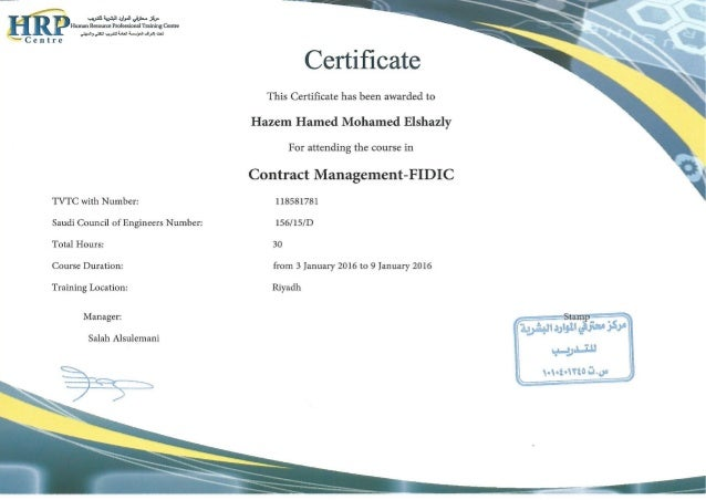 Contract Management-FIDIC Certificate Eng