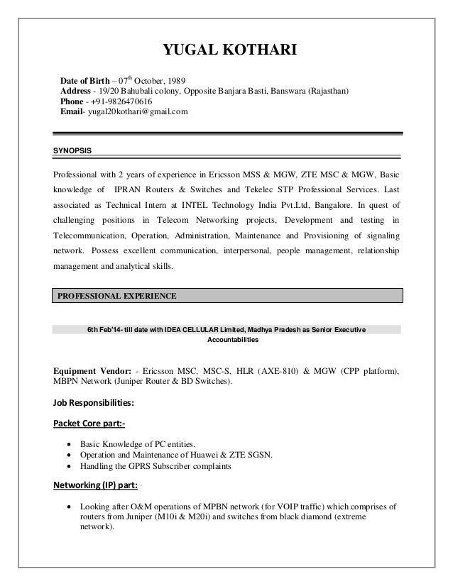 YUGAL KOTHARI Date of Birth – 07th October, 1989 Address - 19/20 Bahubali colony, Opposite Banjara Basti, Banswara (Rajast...
