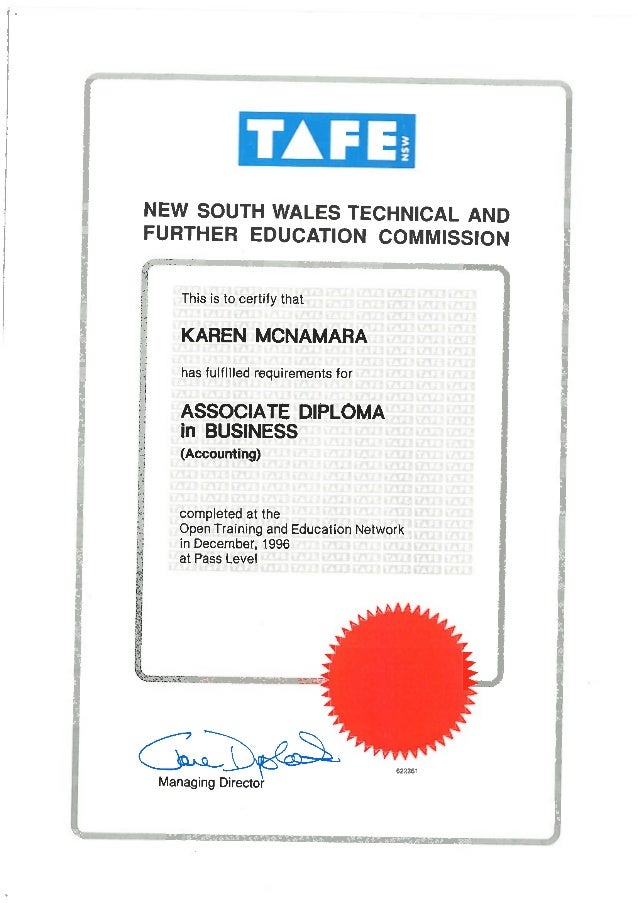 Assoc Diploma Accounting Certificate