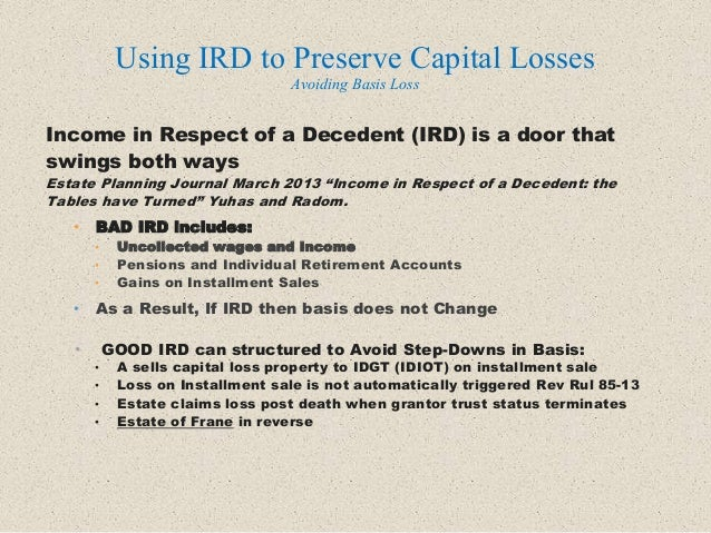 """Income in Respect of a Decedent (IRD) is a door that swings both ways Estate Planning Journal March 2013 """"Income in Respec..."""
