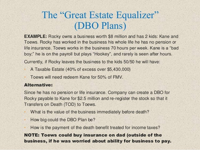 """The """"Great Estate Equalizer"""" (DBO Plans) EXAMPLE: Rocky owns a business worth $8 million and has 2 kids: Kane and Toews. R..."""