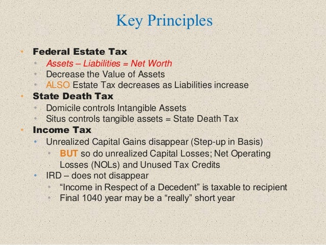 • Federal Estate Tax • Assets – Liabilities = Net Worth • Decrease the Value of Assets • ALSO Estate Tax decreases as Liab...