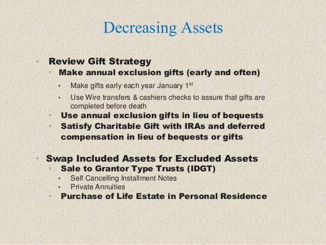 • Review Gift Strategy • Make annual exclusion gifts (early and often) • Make gifts early each year January 1st • Use Wire...