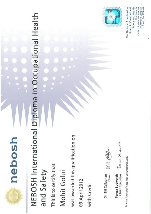 NEBOSH Int Diploma In OHS Final Certificate