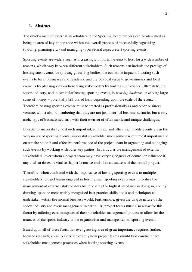 sport event management thesis