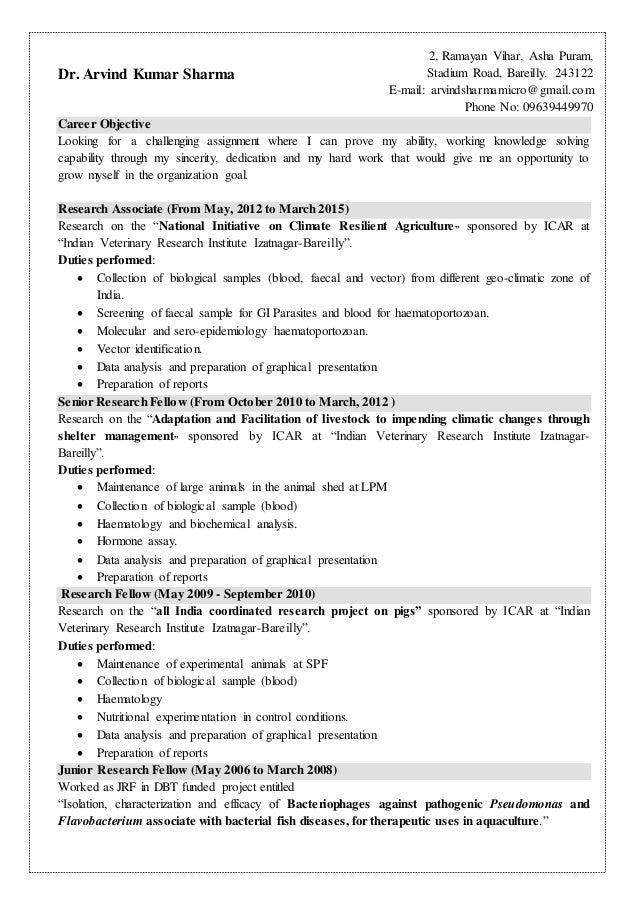dr arvind sharma resume