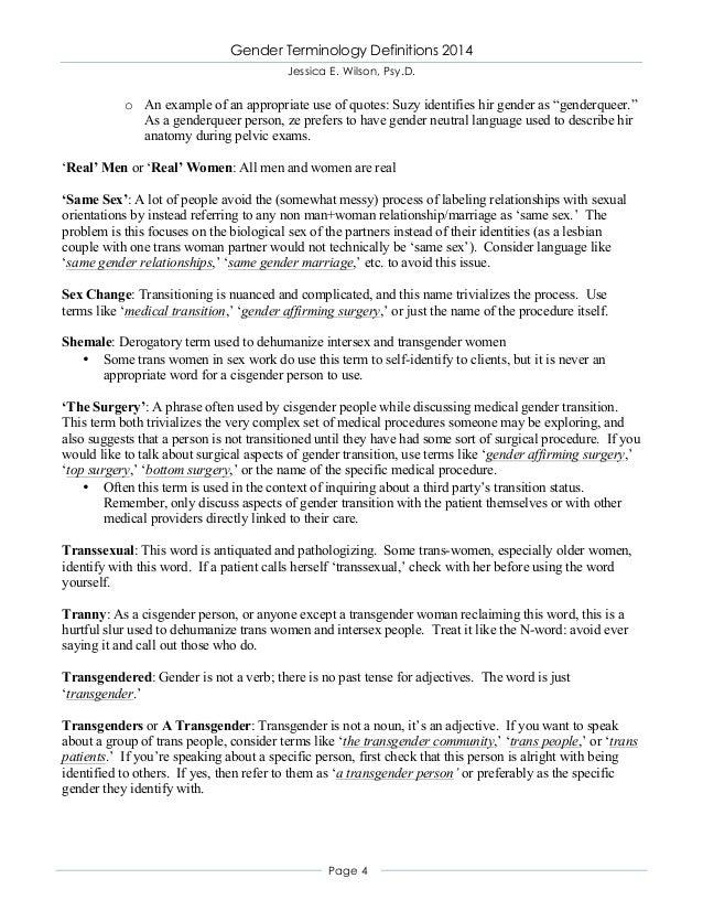 Gender Terminology Definitions 2014