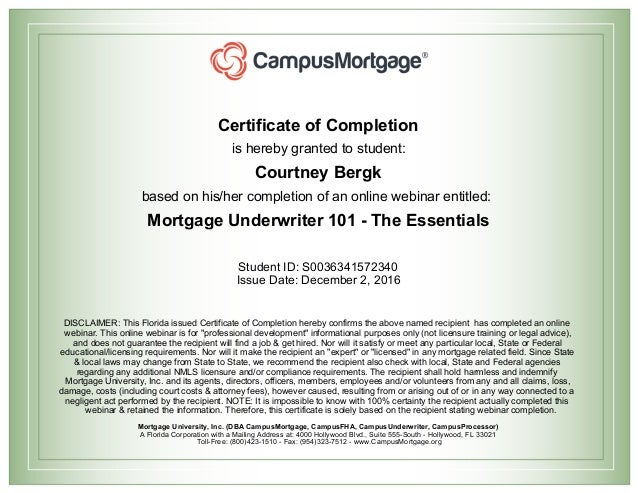 Mortgage Underwriter 101 Certification