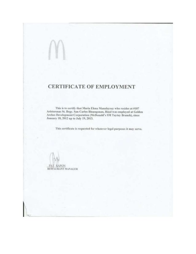 Certificate of employment mcdo certificate of employment yadclub Gallery