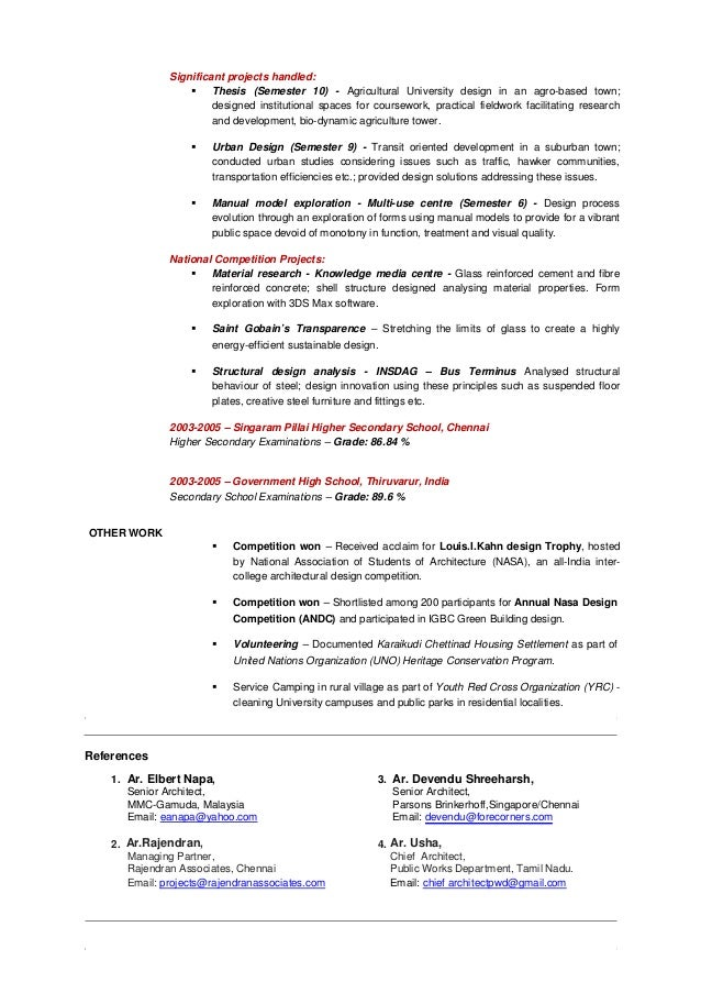 centre for architectural research design chennai. 3  RESUME AR VEERAMANI 5 years exp