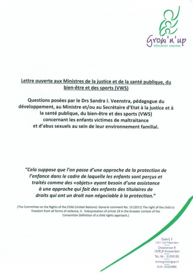Lettre ouverte aus Ministres de la justice et de la santé publique concernant les enfants victimes de maltraitance et d'ab...