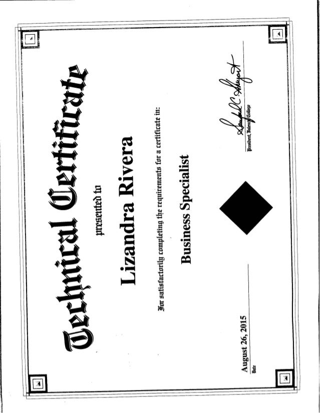 Business Specialist Certification
