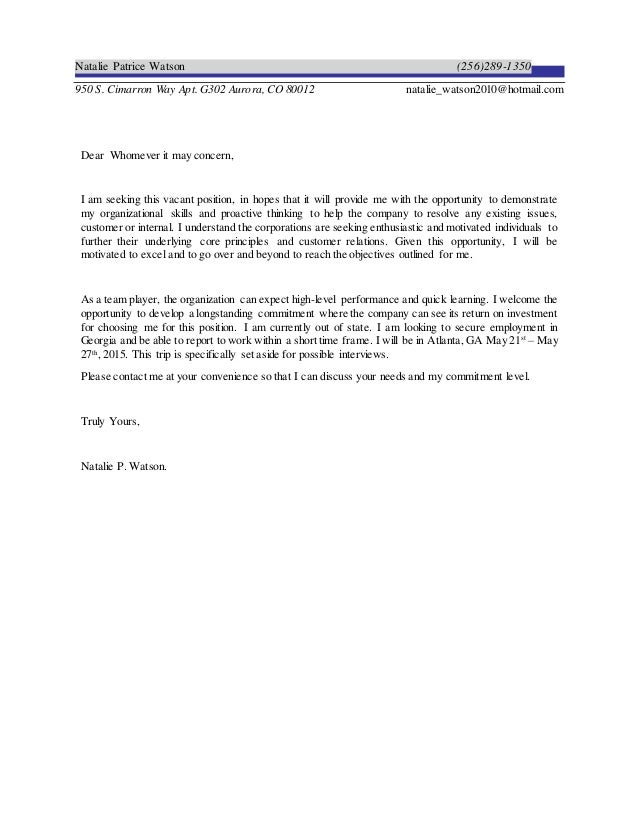 Business Trip - ATL Cover Letter 2014
