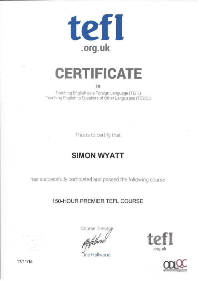 tefl certificate and outcomes