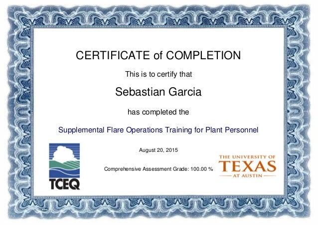 Flare Supplemental Operations Training Certificate of Completion – Certificate of Completion Training