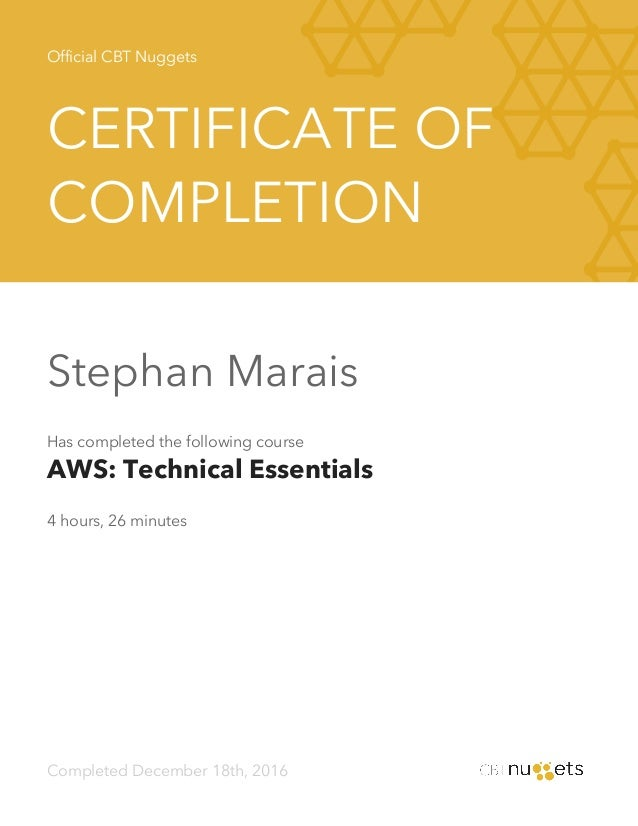 Technical Essentials Certificate (CBT Nuggets)