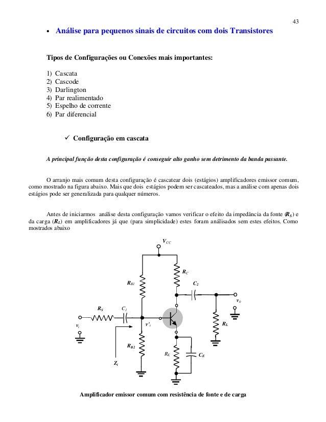 43 • Análise para pequenos sinais de circuitos com dois Transistores Tipos de Configurações ou Conexões mais importantes: ...