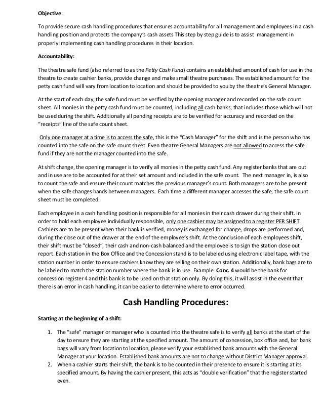cash handling procedural instructions. Black Bedroom Furniture Sets. Home Design Ideas