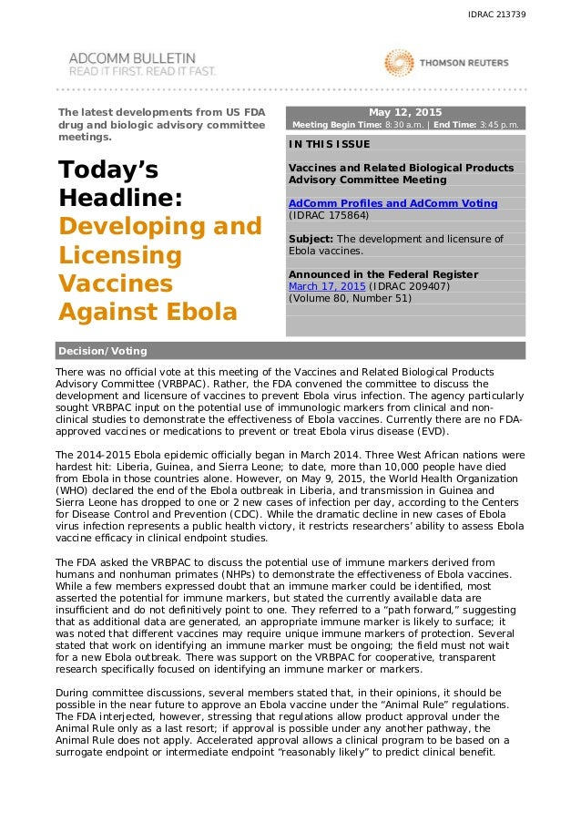 051215 Developing and Licensing Vaccines Against Ebola