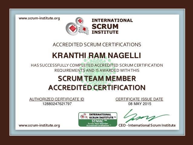 Scrum Team Member Accredited Certification Kranthi Ram Nagelli