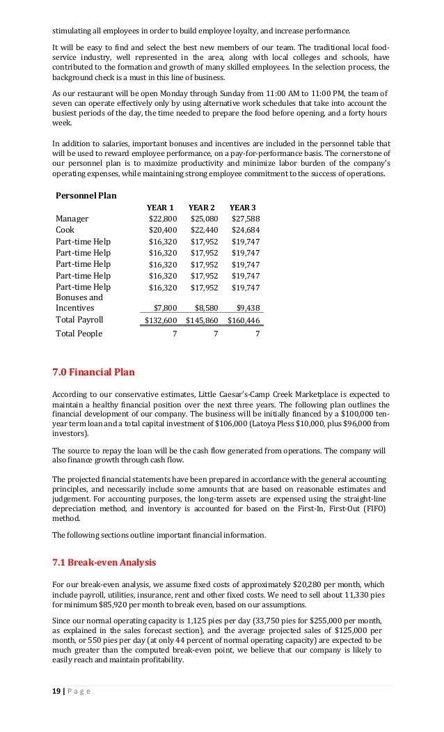 lcf sample business plan