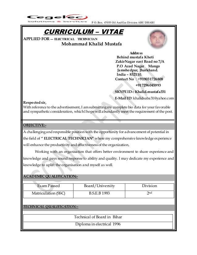 Elechtrical Technician Resume 2016