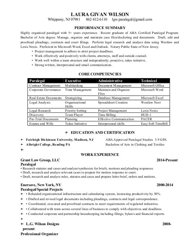 Laura Wilson Paralegal Resume