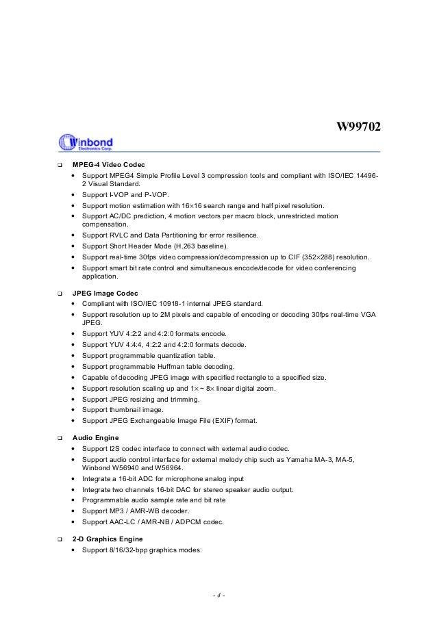 Winbond W99702 WBNDS02357-1