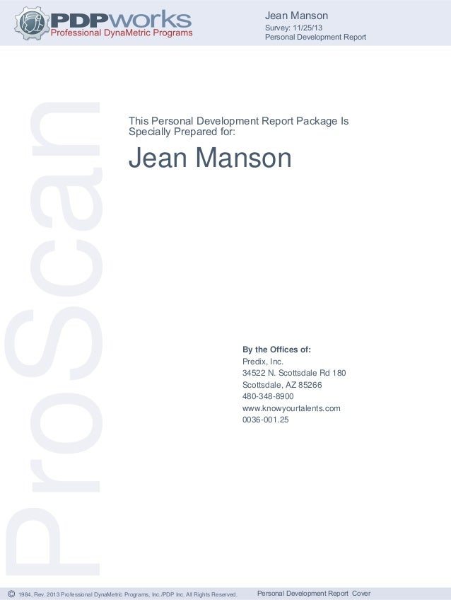 1984, Rev. 2013 Professional DynaMetric Programs, Inc./PDP Inc. All Rights Reserved.© Jean Manson Survey: 11/25/13 Persona...