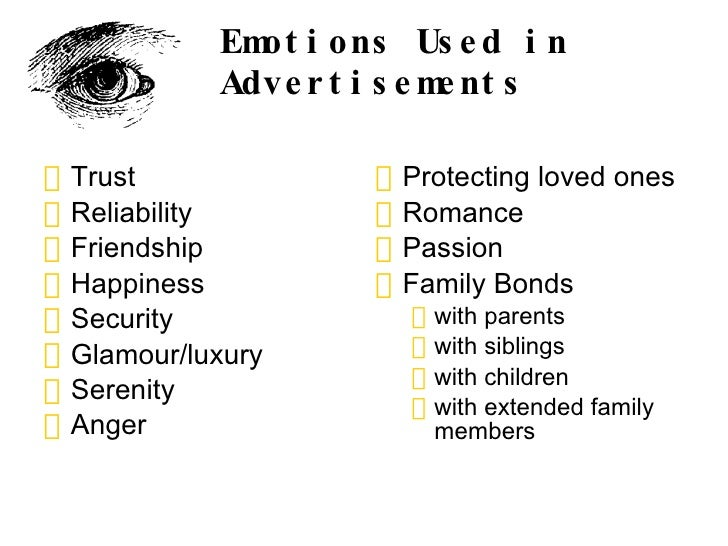 emotional appeal used in visual advertising Video: emotional appeal: definition & examples fear appeal in advertising: theory & examples students frequently use emotional appeals on their professors, hoping for pity as they ask for more time to finish a paper.