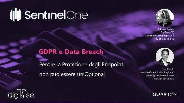 Perché la Protezione degli Endpoint non può essere un'Optional GDPR e Data Breach Adriana Franca DigiTree CM adriana.franc...