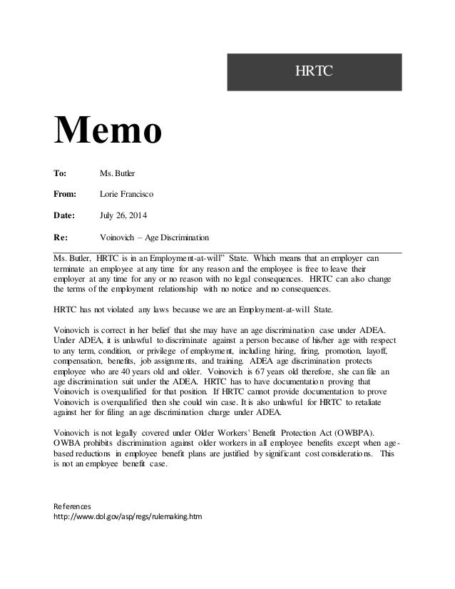 Notice Memo Sample Memo With Case Brief Notice To Explain With