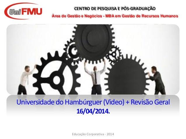 CENTRO DE PESQUISA E PÓS-GRADUAÇÃO Área de Gestão e Negócios - MBA em Gestão de Recursos Humanos UniversidadedoHambúrguer(...