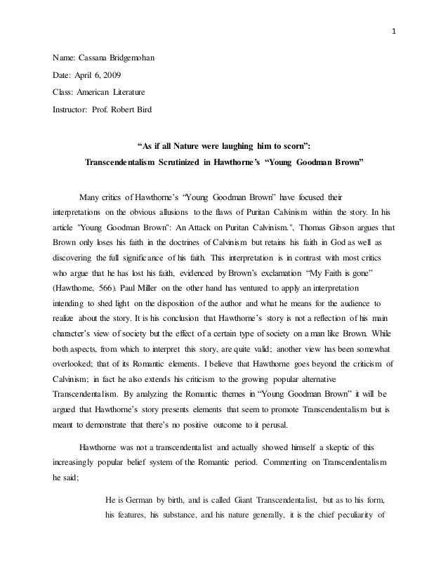 young goodman brown essay on faith